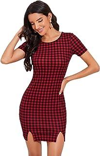 SheIn Women's Plaid Print Short Sleeve Split Hem Casual Bodycon Mini Dress