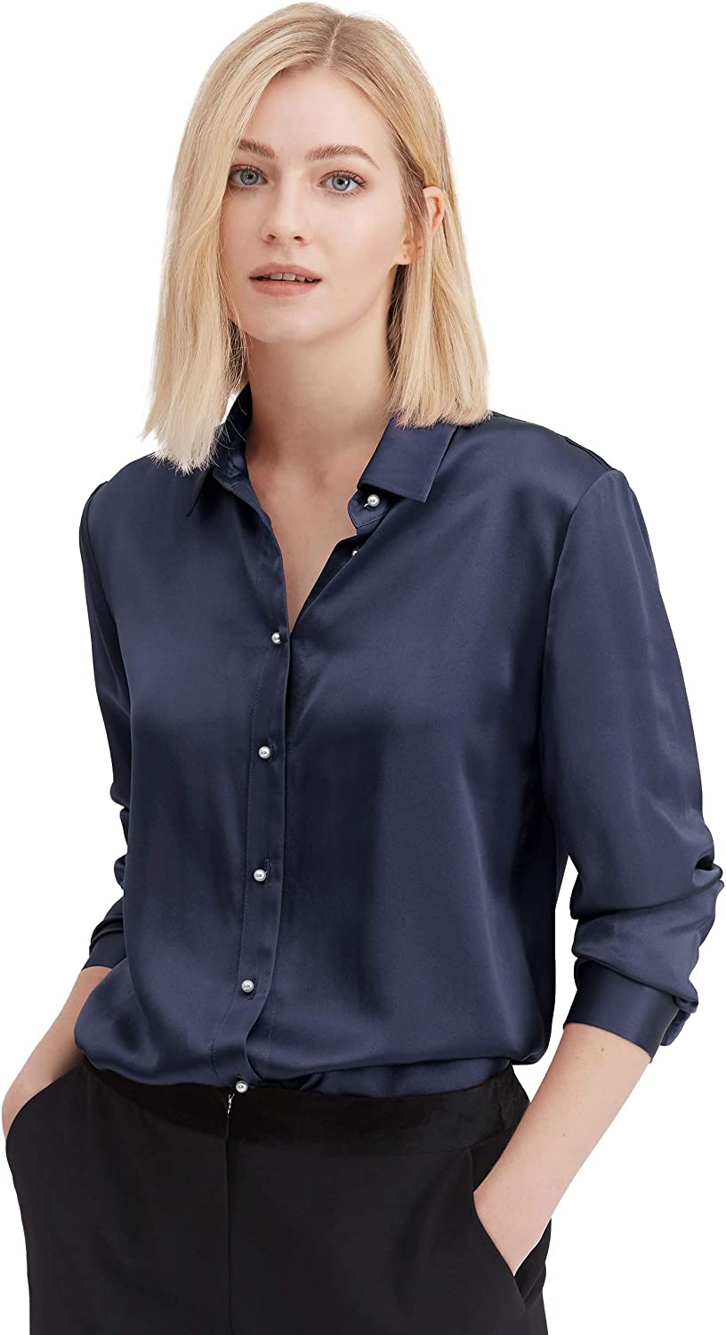 LilySilk Silk Shirts for Women Basic Formal Office Vintage Long Sleeve Pearl Button Down Silk Blouse Tops for Ladies