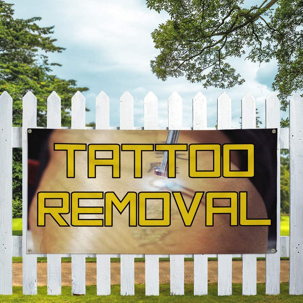 Vinyl Banner Multiple Sizes Tattoo Removal B Advertising Printing Business Outdoor Weatherproof Industrial Yard Signs 8 Grommets 48x96Inches