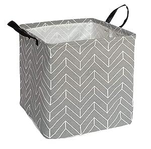 KUNRO Square Toy Bin Waterproof storage organizer for Nursery Hamper Home decor Closet Kids Bedroom Laundry Baby Gift Shelf Baskets(Grey Geometric)