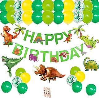 Juego de decoración de cumpleaños de dinosaurio: guirnalda de feliz cumpleaños globos de papel de dinosaurio,globos verdes para 1.2.3.5.7.9.10 años niños cumpleaños decoración de la fiesta de la selva