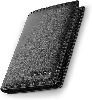 TEEHON® Portafoglio Uomo Brifold Vera Pelle Blocco RFID, con Tasca Portamonete, 12 Porta Carte di Credito, 2 Scomparti Ban...