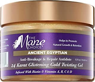 THE MANE CHOICE Ancient Egyptian 24 Karat Gold Twisting Gel - Anti-Breakage & Repair Antidote Gel For Dry and Damaged Hair,12 Fluid Ounces,Pack of 1
