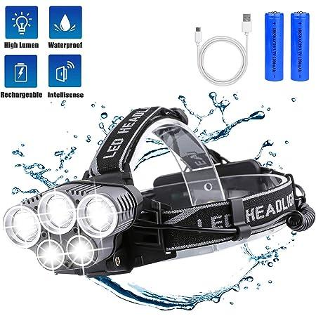 Ciclismo Linterna Frontal LED USB Recargable,Victoper Linterna Cabeza 5 Modos Sensor de Movimiento Linternas LED Alta Potencia IPX5 Impermeable para Camping Carrera Pesca Excursi/ón