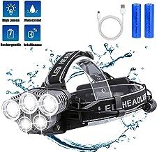 LED Stirnlampe,Super Helle Kopflampe,80000 Lumen 50w Xhp70.2 Led Scheinwerfer wasserdicht Zoom Able Scheinwerfer leistungsstarke USB-Ladeblitz Lampe Kopflicht
