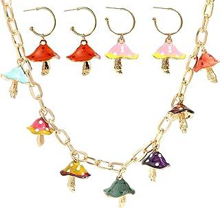 Harajuku Cute Colorful Musheroom Shape Pendant Necklace and Drop Dangle Earrings Set Sweet Lovely Fresh Dainty Friendship ...