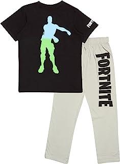 Fortnite Ombre Flossing Emote Boys Long Pyjamas Set Black/Heather Grey Juego de Pijama para Niños