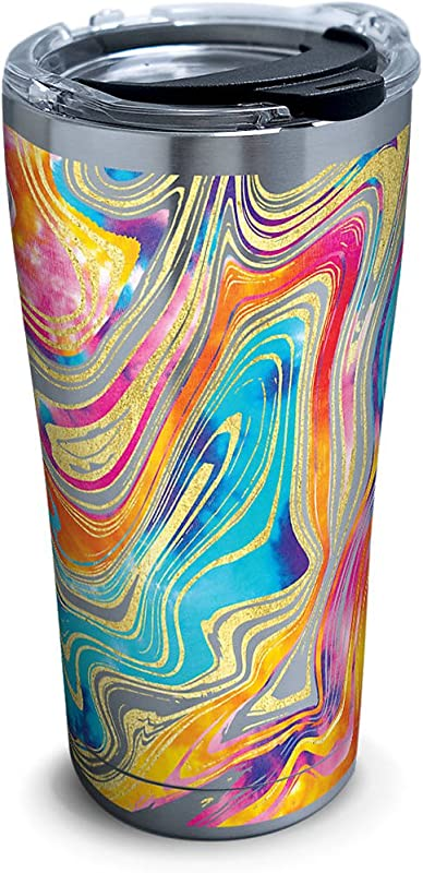 Tervis 1287668 Tie Dye Swirl Stainless Steel Tumbler With Clear And Black Hammer Lid 20oz Silver
