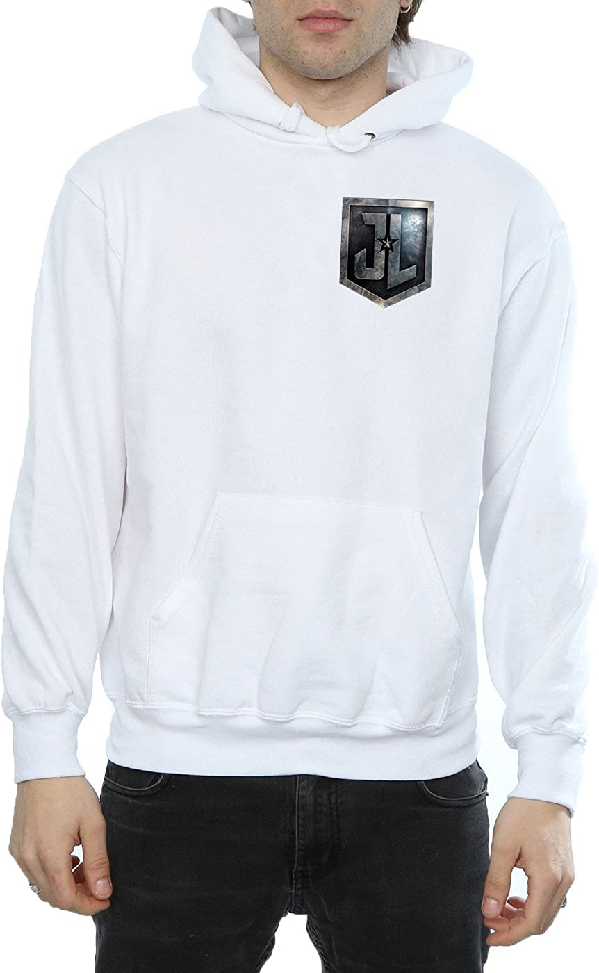 DC Comic Homme Justice League Movie Shield Faux Pocket Sweat À Capuche Blanc