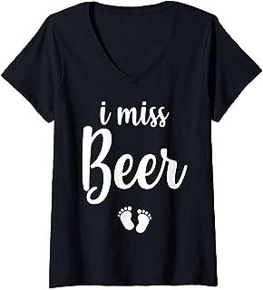 Womens Pregnant Mom To Be I Miss Beer Pregnancy Joke V-Neck T-Shirt