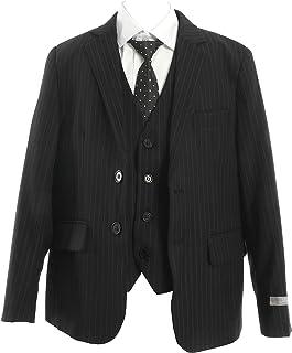 男子 フォーマル 子供スーツ(ブラック?チョークストライプ/2つボタン/スリーピース) 5点セット(ジャケット?ズボン?ベスト?ホワイトカッター?ネクタイ)