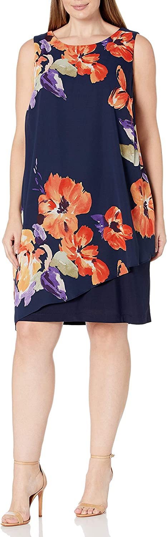 S.L. Fashions Women's Plus Size Sleeveless Print Asymmetric Chiffon Overlay Dress