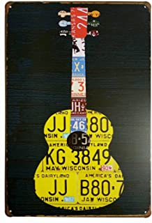 ERLOOD Music Guitar Distressed Retro Vintage Tin Sign Pub Poster Metal 12x 8