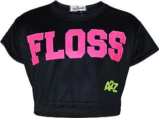 df28c1a6f7e6c A2Z 4 Kids Enfants Filles Crop Top Noir Designer Floss Imprimér Élégant  Branché T Shirt Crop