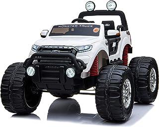 乗用ラジコン フォード レンジャー モンスタートラック(FORD RANGER) 超大型!二人乗り 4WD&大型バッテリー フォードライセンス ペダルとプロポで操作 電動ラジコンカー 乗用玩具 子供が乗れるラジコンカー 電動乗用玩具 本州 [フォード モントラ DK-MT550] (ホワイト)