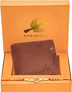 HORNBULL Rakhi Gift Hamper for Brother - Rigohill Washed Brown Men's Leather Wallet and Rakhi Combo Gift Set for Brother