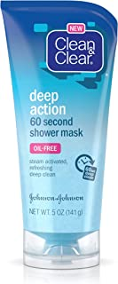 Clean & Clear Deep Action Exfoliating 60-Second Shower Face Mask, Deep Cleansing In-Shower Steam Facial Mask, Oil-Free & Non-Comedogenic, 5 oz