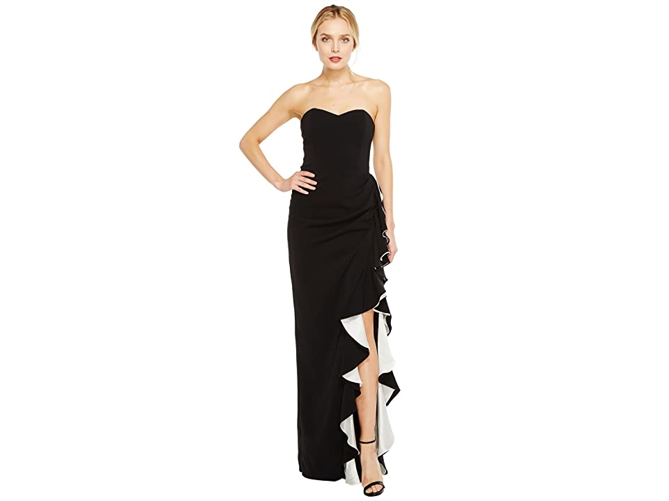 Badgley Mischka Color Block Ruffle Gown (Black/White) Women