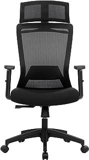 SONGMICS Kontorsstol, skrivbordsstol, ergonomisk svängstol med klädhängare, nätspänning, justerbart nackstöd, höjdjusterba...