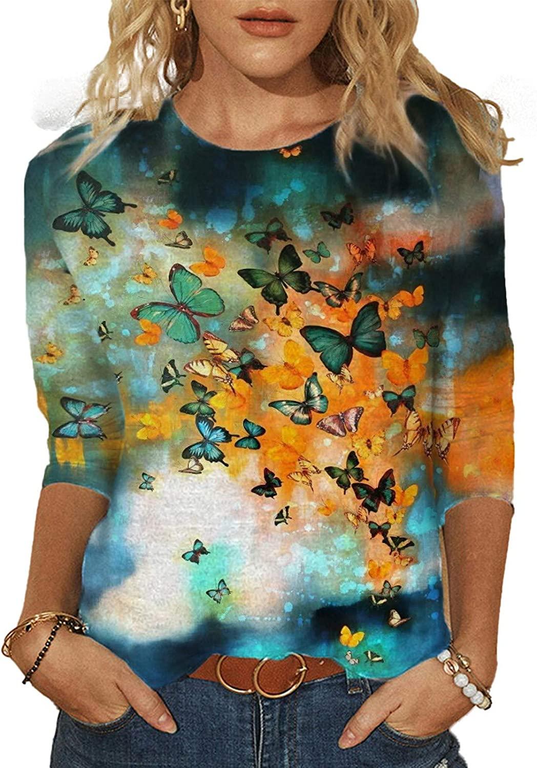 Tops for Women Casual Summer, 3/4 Sleeve Fashion Crewneck Butterfly Print Tee Shirts Vintage Pullover Loose Comfy Blouse