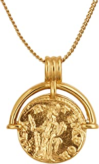 ACC PLANET Coin Necklace 18K Gold Plated Vintage Coin Pendant Gold Necklace for Women Girls
