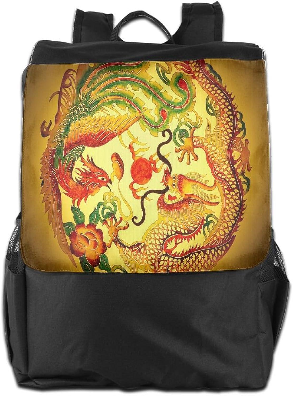 golden Dragon and Phoenix Cartoon Backpack Travel Shoulder Bag for Men Women and Teens