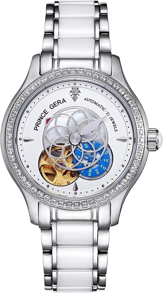 Prince gera orologio da polso da donna impermeabile automatico elegante con diamanti e cinturino in ceramica PG0071L-SSW-B