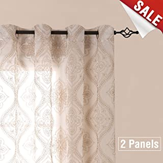 Embroidered Sheer Curtains Grommet Top 2 Panels W55 x L63 inch Damask White On White