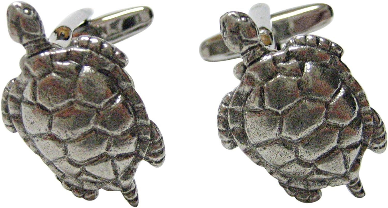 Kiola SALENEW very popular Designs Silver Toned Textured Trust Cufflinks Tortoise Turtle