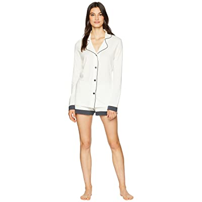 Cosabella Bella Screen Long Sleeve Top Boxer PJ Set (Moon Ivory/Anthracite) Women