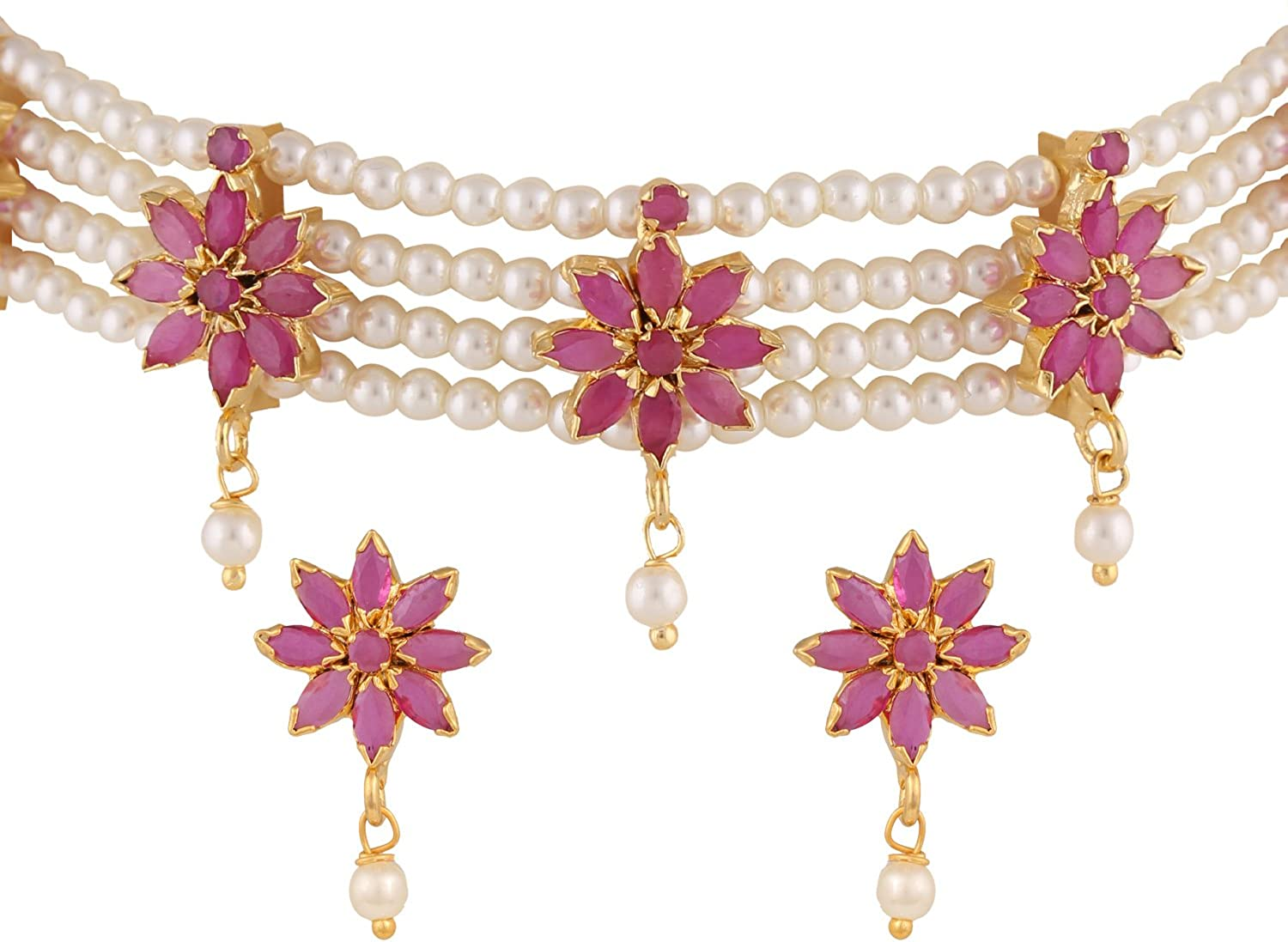 Efulgenz Indian Traditional 18K Gold Tone Plated Ruby Pearl Beaded Collar Strand Moti Choker Necklace Jewelery Festive Costume Accessories for Women and Girls