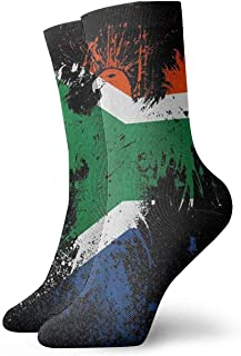 ONGH, Bandera de Sudáfrica y Eagle Classic Crew Calcetines de punto plano Casual Athletic Stoking 30CM Ligero