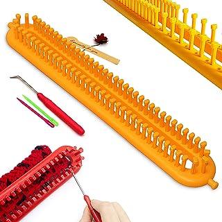 Katech Kit Tricotin Rectangulaire, 36cm Multifonctionnel Long Métier à Tricoter en Plastique et 3 Pièce Outils Accessoire...