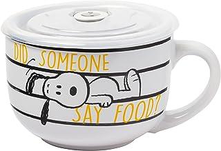 Silver Buffalo Peanuts Squad 24oz Ceramic Soup Mug w Vented Plastic Lid, White-Multi
