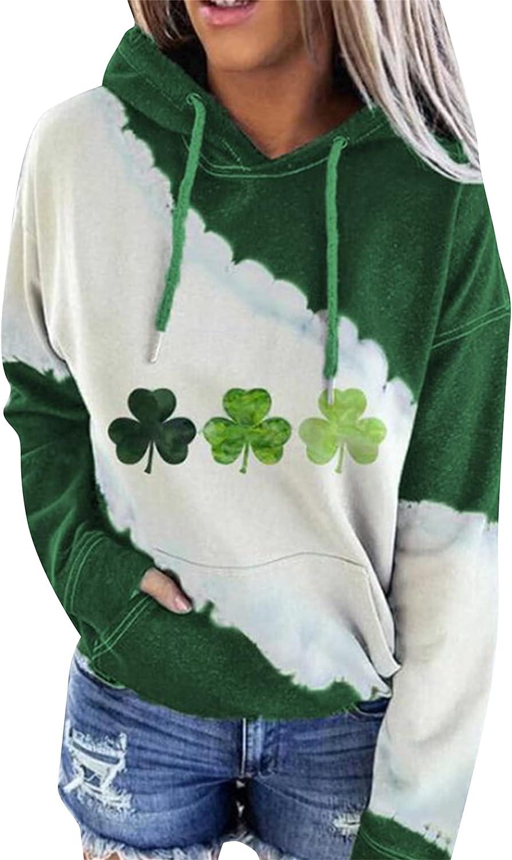 YMING Women's St. Patrick's Day Clover Print Hoodie Sweatshirt Casual Long Sleeve Irish Pullover Tops