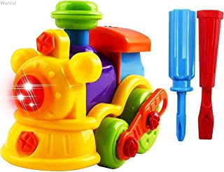 WolVol 22-Piece Take-A-Part Building Train - Toddler Assembly STEM Toy - Lights & Music - Take Apart for Boys & Girls - Screwdriver Included - Educational Put Together - Motor Skill