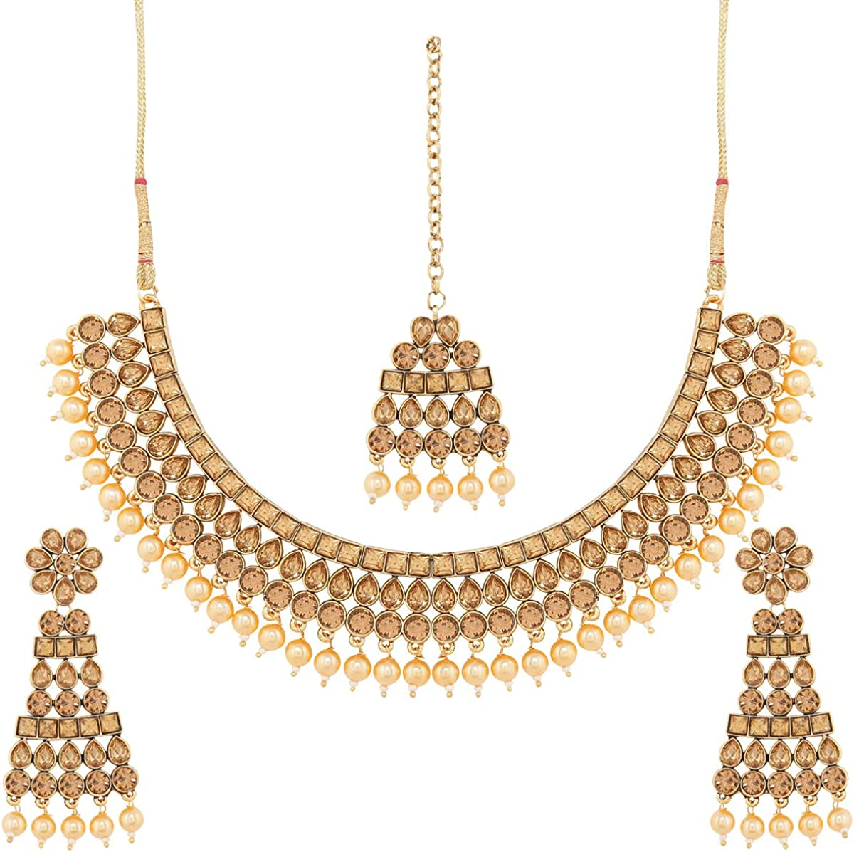 I Jewels Traditional Gold Plated Handcrafted Stone Studded & Pearl Necklace Set with Earrings & Maang Tikka for Women