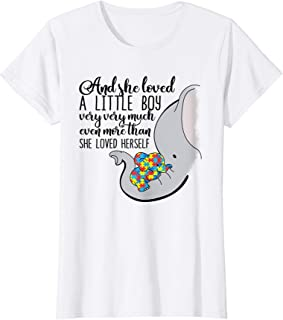 Womens She Loved A Little Boy Very Much Autism Elephant Mom T Shirt