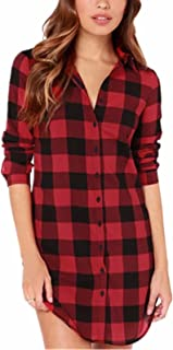 8b40a6b3b992 ZANZEA Womens Long Sleeve Blouses Ladies Tops Sexy V Neck Tee Shirts  Checked Plaid Tartan Shirt
