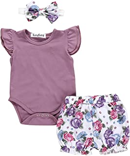 Newborn Baby Girl Clothes Flare Sleeve Romper + Floral Short Pants 2pcs Summer Outfit Set 6-12M