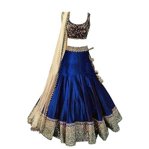 f99036ae9 Mahavir Fashion Girls Blue Benglori Silk Un-stitched Lehenga Choli For  Festivals and Wedding Special