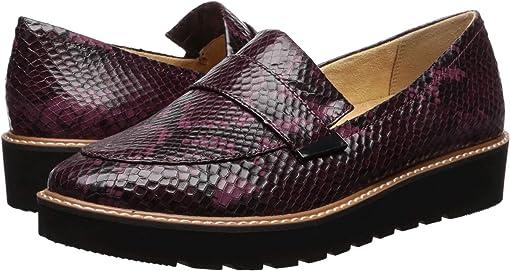 Burgundy Snake Print Leather