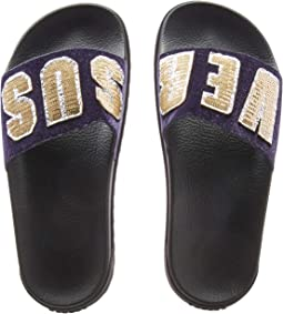 Footbed Sandal Rubber Sole H.20+Sequins Lettering Velluto