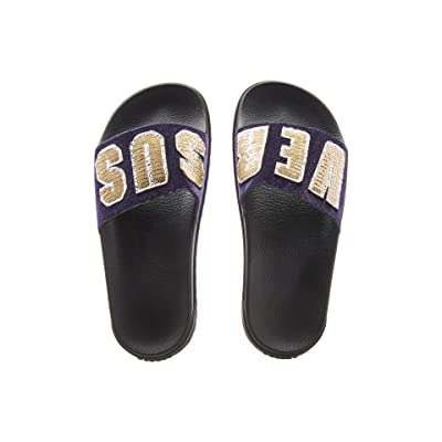 Versus Versace Footbed Sandal Rubber Sole H.20+Sequins Lettering Velluto (Purple/Light Gold/Black) Women