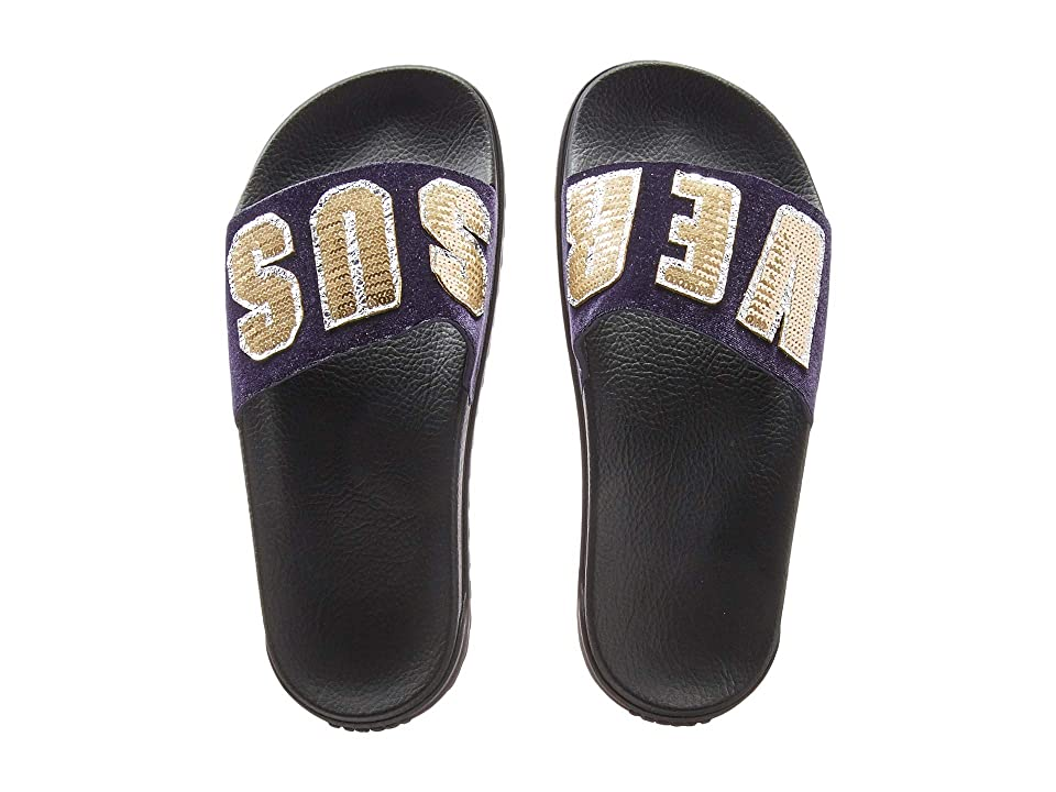Versus Versace Footbed Sandal Rubber Sole H.20+Sequins Lettering Velluto (Purple/Light Gold/Black) Women