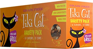 Tiki Cat Grill Grain-Free, Low-Carbohydrate Wet Food with Whole Seafood in Broth for..