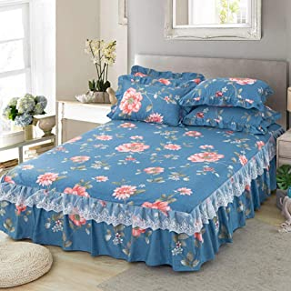 TP&DD Polycotton Fitted Single Bed Skirt Wrap Valance,deep Frilled Base Elasticated Bed Valance Divan Base Cover Valance Sheet-m 180x220cm(71x87inch)