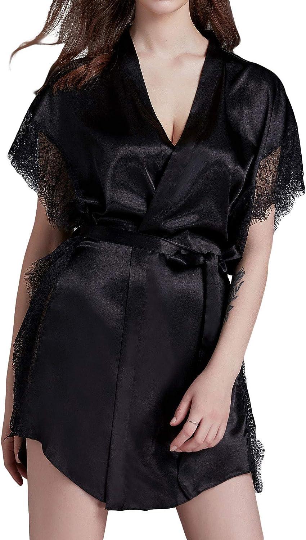 Lu's Chic Women's Bridal Robe Satin Kimono Lace Bathrobe Sexy Short Sleeve Sleepwear Lightweight