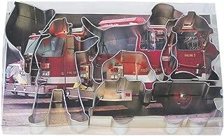 R&M International 1851 Fire Truck Cookie Cutters, Firefighter, Truck, Helmet, Hydrant, Dog, 5-Piece Set