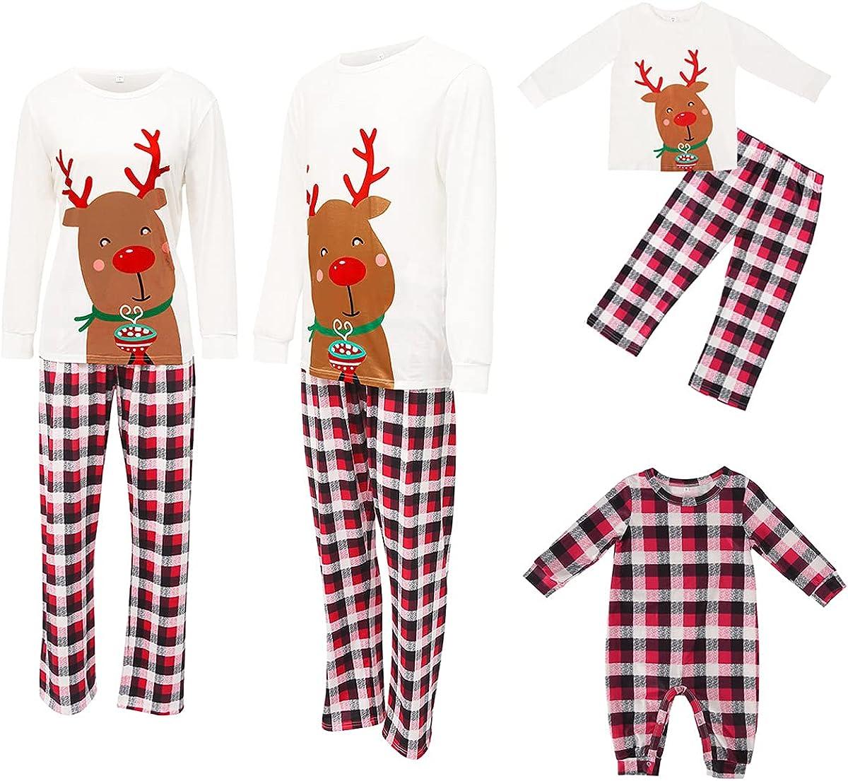 Family Christmas Pjs Deer Sleepshirt Plaid Pajama Bottoms Matching Set Jammies for Adult Kid Holiday Xmas Sleepwear